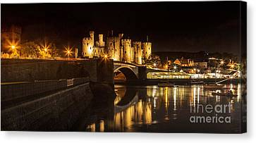 Chris Evans Canvas Print - Conwy Castle At Night  by Chris Evans