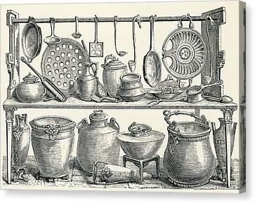 Cooking Utensils Found In Pompeii Canvas Print by Vintage Design Pics