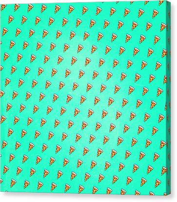 Cheese Canvas Print - Cool And Trendy Pizza Pattern In Super Acid Green   Turquoise   Blue by Philipp Rietz