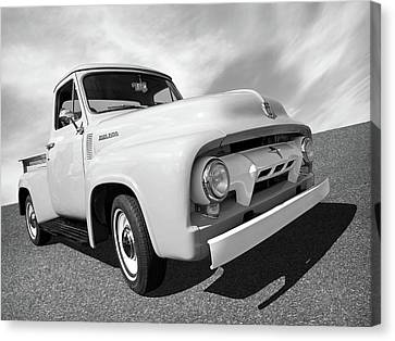 Cool As Ice - 1954 Ford F-100 In Black And White Canvas Print by Gill Billington