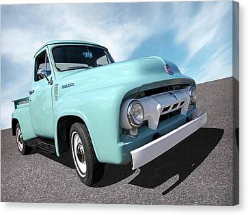 Cool As Ice - 1954 Ford F-100 Glacier Blue Canvas Print by Gill Billington