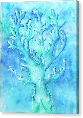 Canvas Print featuring the painting Cool Blue Coral by Arthur Fix