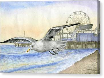 Cool Breeze At The Santa Monica Pier By Maria Arias 12th Grade Canvas Print
