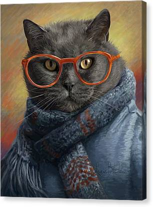 Cool Cat Canvas Print by Lucie Bilodeau