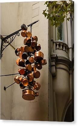 Cool Copper Pots - Parisian Restaurant Left Bank La Rive Gauche Canvas Print by Georgia Mizuleva
