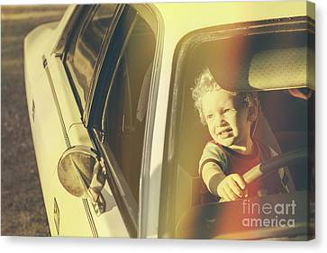 Auto-portrait Canvas Print - Cool Retro Kid Riding In Old Fifties Classic Car by Jorgo Photography - Wall Art Gallery