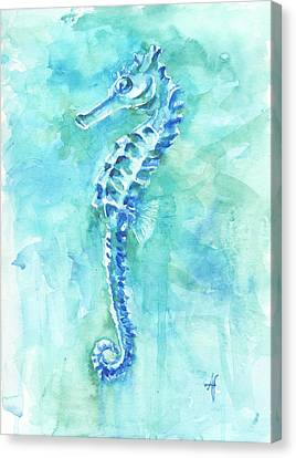 Canvas Print featuring the painting Cool Sea Horse by Arthur Fix