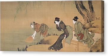 Cooling Off On A Summer Evening Canvas Print by Katsushika Hokusai