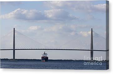 Container Canvas Print - Cooper River Bridge Container Ship Charleston by Dustin K Ryan