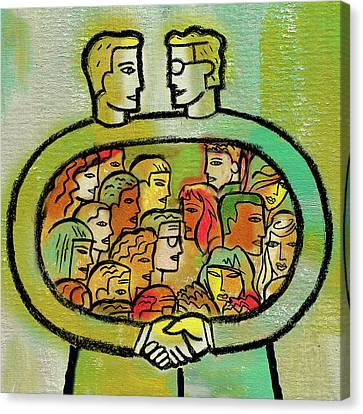 Cooperation And Support Canvas Print by Leon Zernitsky