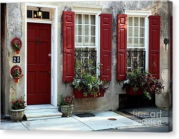 Charleston Houses Canvas Print - Coordinated In Charleston by John Rizzuto