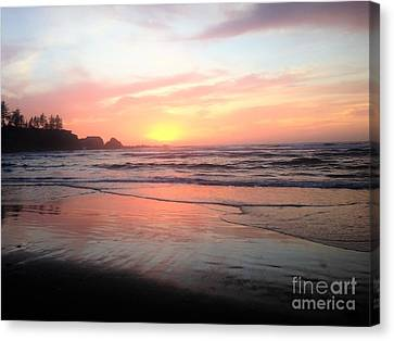 Canvas Print featuring the painting Coos Bay by Linda Shackelford