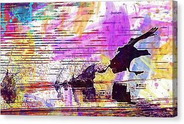 Canvas Print featuring the digital art Coot Bird Water Bird  by PixBreak Art