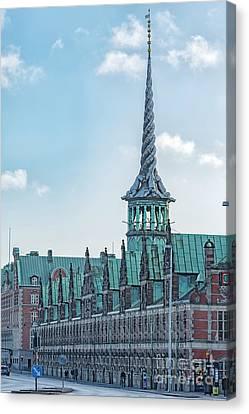 Canvas Print featuring the photograph Copenhagen Borsen Stock Exchange Building by Antony McAulay