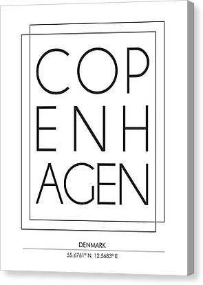 Copenhagen City Print With Coordinates Canvas Print