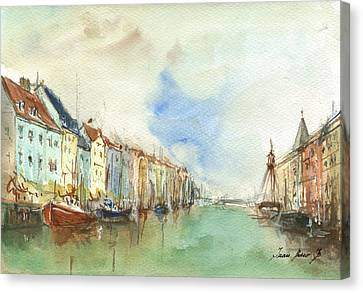 Copenhagen Harbour Canvas Print by Juan Bosco