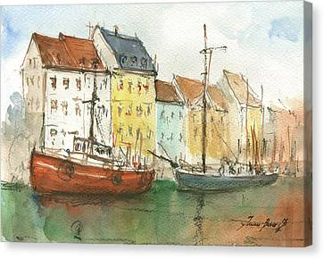 Copenhagen Harbour With Boats Canvas Print