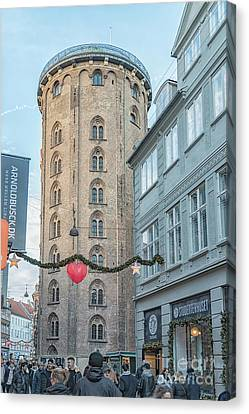 Canvas Print featuring the photograph Copenhagen Round Tower Street View by Antony McAulay
