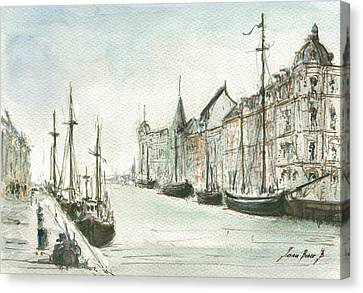 Copenhagen With Snow Canvas Print by Juan Bosco