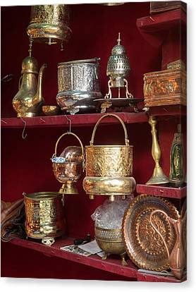 Copper And Silver With Brass Items Canvas Print by Panoramic Images
