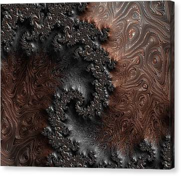 Copper And Steel Embossed Spiral Abstract Canvas Print