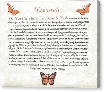 Copper Butterfly Desiderata Canvas Print by Desiderata Gallery
