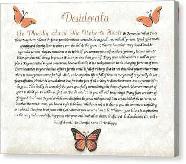 Copper Butterfly Desiderata Canvas Print by Desiderata Gallery