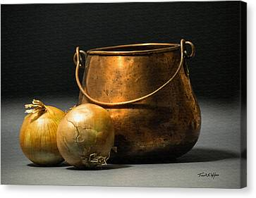 Copper Pot And Onions Canvas Print by Frank Wilson