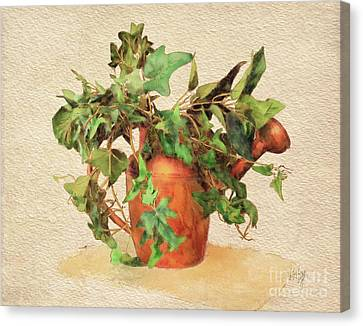 Canvas Print featuring the digital art Copper Watering Can by Lois Bryan