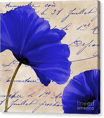 Coquelicots Bleue II Canvas Print by Mindy Sommers