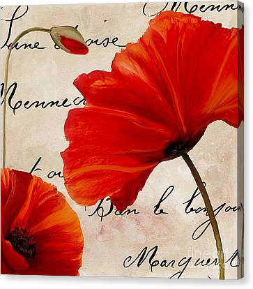 Coquelicots Rouge II Canvas Print by Mindy Sommers