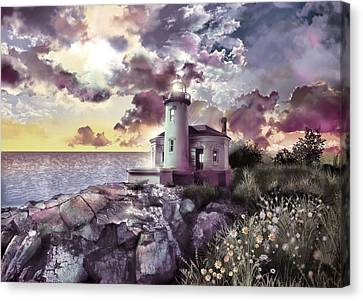 Pacific Coast States Canvas Print - Coquille River Lighthouse 2 by Bekim Art