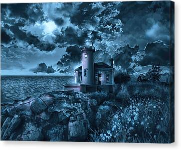 Storm Canvas Print - Coquille River Lighthouse 3 by Bekim Art