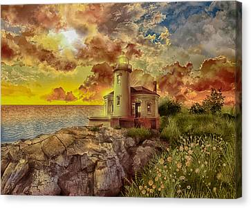 Pacific Coast States Canvas Print - Coquille River Lighthouse 4 by Bekim Art