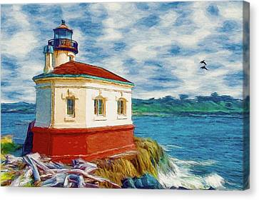 Coquille River Lighthouse Canvas Print by Jeff Kolker