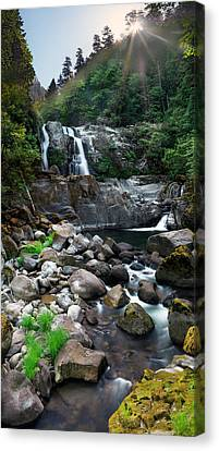 Sunrise Canvas Print - Coquille Waterfalls by Leland D Howard