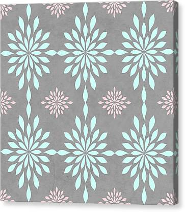 Coral And Turquoise Gray Canvas Print