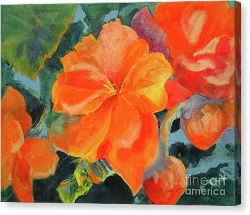 Canvas Print featuring the painting Coral Begonias by Kathy Braud