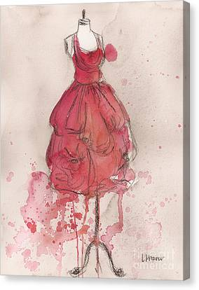 Loose Watercolor Canvas Print - Coral Pink Party Dress by Lauren Maurer