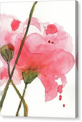 Canvas Print featuring the painting Coral Poppies by Dawn Derman