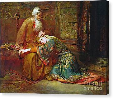 Cordelia Comforting Her Father Canvas Print by MotionAge Designs