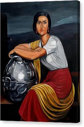 Cordobesa En La Fuente  Canvas Print by Manuel Sanchez