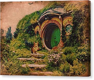 Corgi At Hobbiton Canvas Print by Kathy Kelly