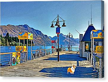 Canvas Print featuring the drawing Corgi At Queenstown New Zealand by Kathy Kelly