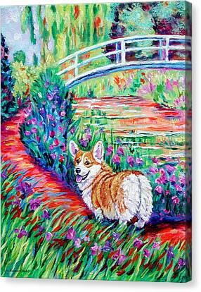 Corgi At The Japanese Bridge Canvas Print by Lyn Cook