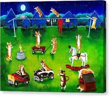 Corgi Backyard Circus Canvas Print by Lyn Cook