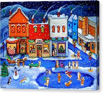 Corgi Christmas Town Canvas Print by Lyn Cook