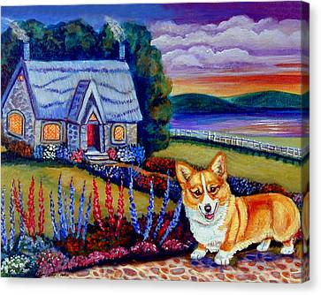 Corgi Cottage Sunset Canvas Print by Lyn Cook