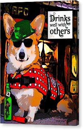 Canvas Print featuring the digital art Corgi - Drinks Well With Others by Kathy Kelly