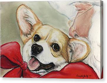 Corgi For Christmas Canvas Print by Charlotte Yealey